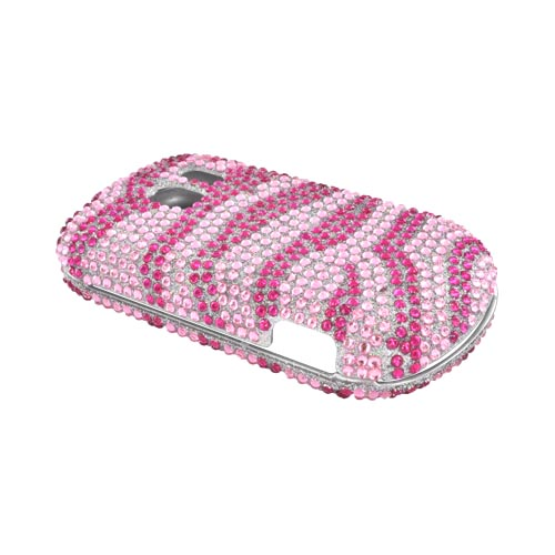 LG Extravert VN271 Bling Hard Case - Hot Pink Zebra on Light Pink Gems