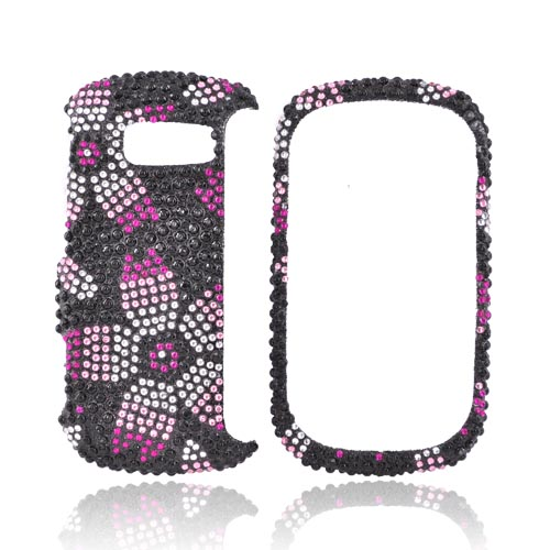 LG Octane VN530 Bling Hard Case - Pink Cherry Blossom on Black