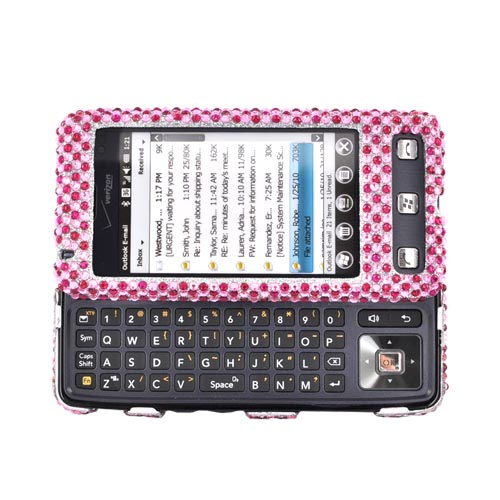 Luxmo LG Fathom VS750 Bling Hard Case -Triple Pink Hearts on Silver Gems
