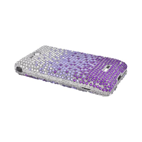 LG Lucid 4G Bling Hard Case - Purple/ Lavender Waterfall on Silver Gems