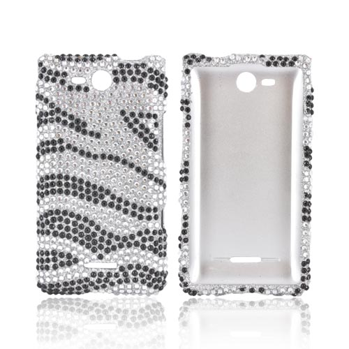 LG Lucid 4G Bling Hard Case - Black Zebra on Silver Gems