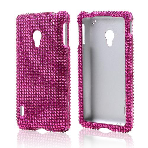 Hot Pink Gems Bling Hard Case for LG Lucid 2