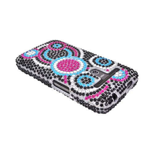 LG Revolution, LG Esteem Bling Hard Case w/ Crowbar - Black/ Magenta/ Turquoise Circles on Silver