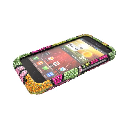 LG Revolution, LG Esteem Bling Hard Case - Green/ Pink/ Yellow Hawaii Flowers