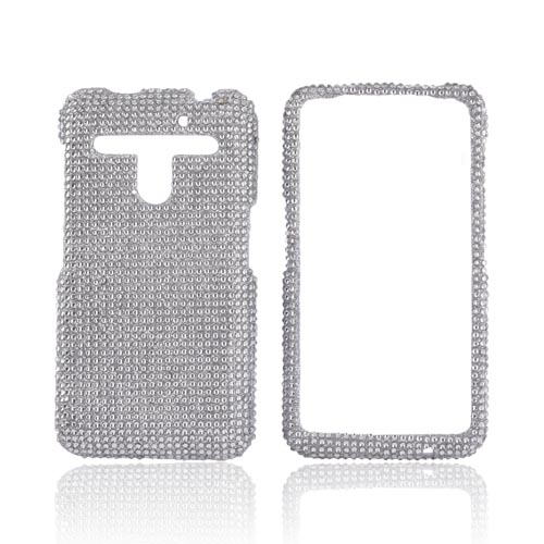 LG Revolution, LG Esteem Bling Hard Case w/ Crowbar - Silver Gems