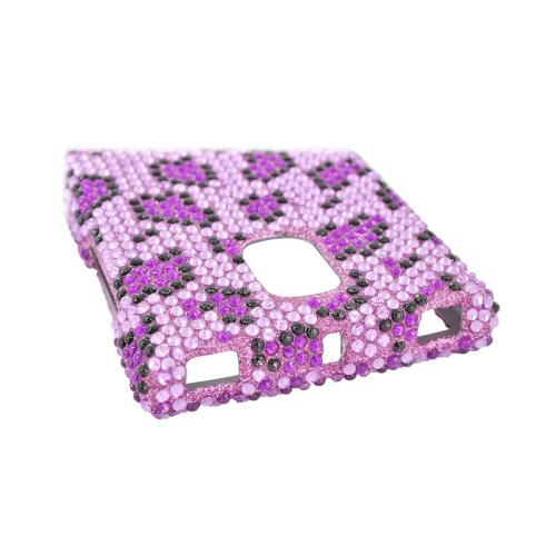 LG Optimus VS930 (Optimus LTE II) Bling Hard Case - Purple/ Light Purple Leopard Gems