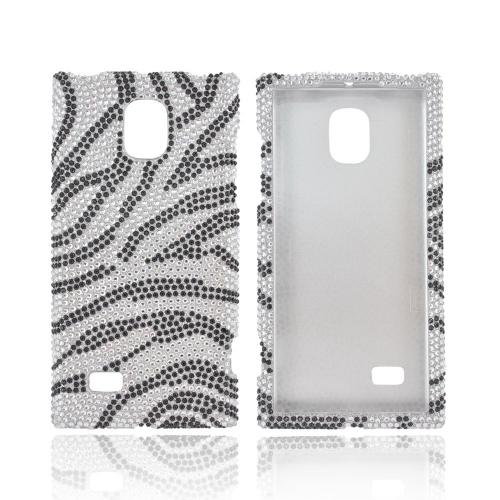 LG Optimus VS930 (Optimus LTE II) Bling Hard Case - Black Zebra on Silver Gems