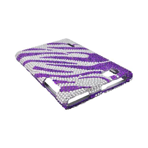 LG Intuition VS950 Bling Hard Case - Purple/ Silver Zebra