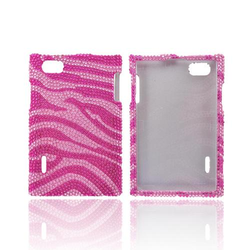 LG Intuition VS950 Bling Hard Case - Hot Pink/ Baby Pink Zebra
