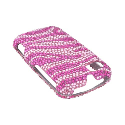 Motorola Admiral Bling Hard Case - Pink Zebra on Hot Pink Gems