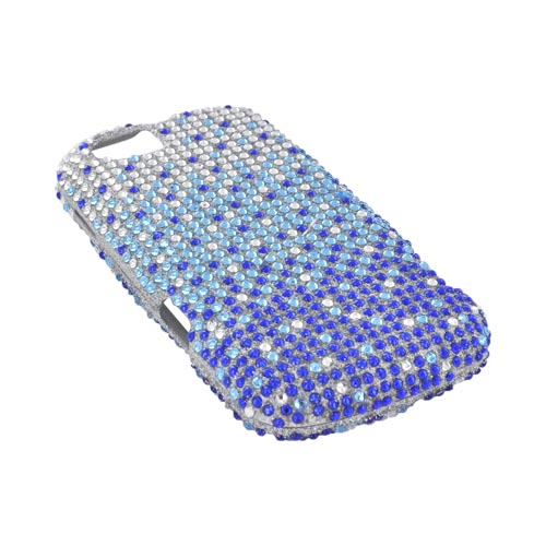 Motorola Admiral Bling Hard Case - Turquoise/ Blue Waterfall on Silver Gems