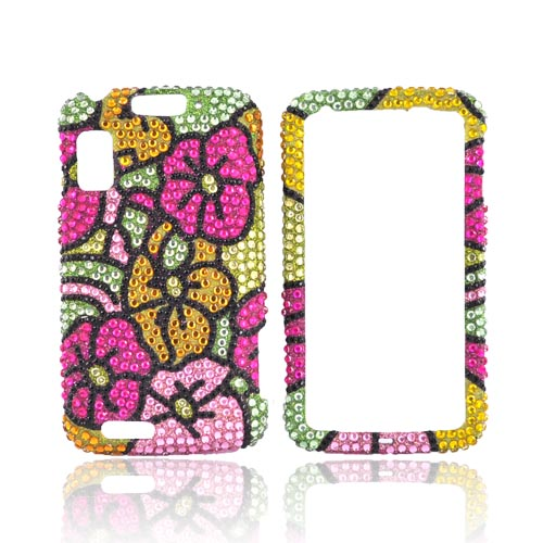 Motorola Atrix 4G Bling Hard Case - Pink/Green/Yellow Hawaii Flowers
