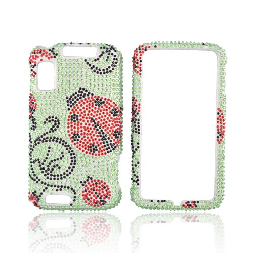 Motorola Atrix 4G Bling Hard Case - Red Lady Bug on Green