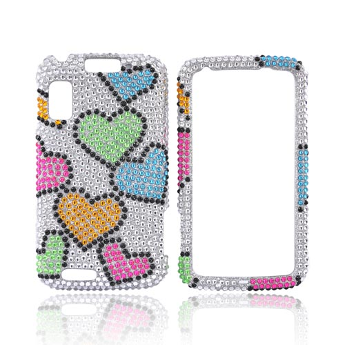 Motorola Atrix 4G Bling Hard Case - Rainbow Hearts on Silver