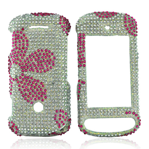 Motorola Crush W835 Bling Hard Case - Hot Pink Daisies on Clear Gems