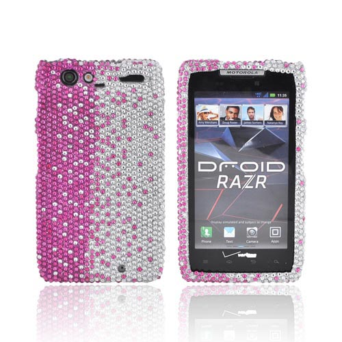 Motorola Droid RAZR Bling Hard Case - Pink Splash on Silver Gems