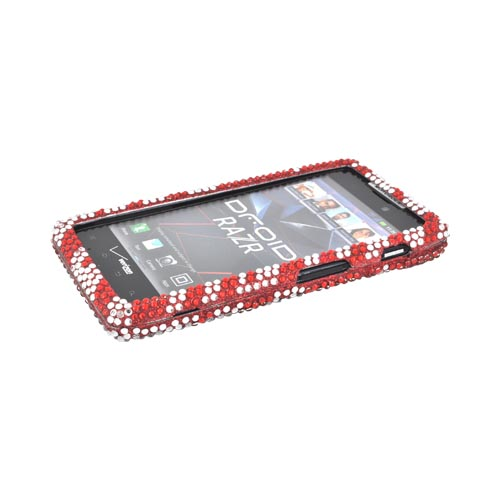 Motorola Droid RAZR Bling Hard Case - Red/ Silver Zebra