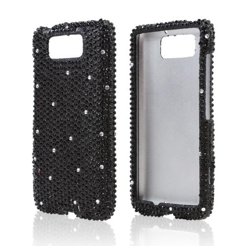 Black Gems w/ White Bling Hard Case for Motorola Droid MAXX/ Droid Ultra