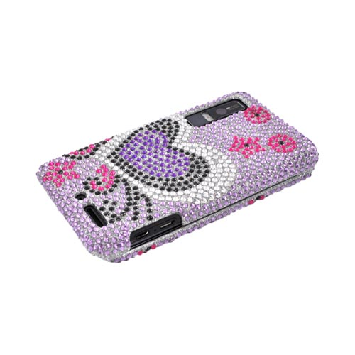Motorola Droid 3 Bling Hard Case - Purple/ Black Heart on Light Purple Gems