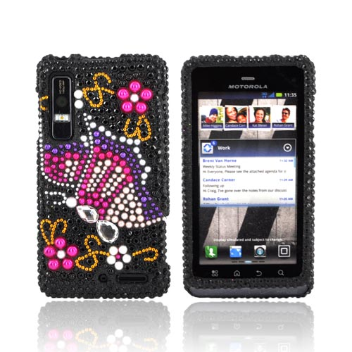 Motorola Droid 3 Bling Hard Case - Pink/ Purple Butterfly on Black Gems