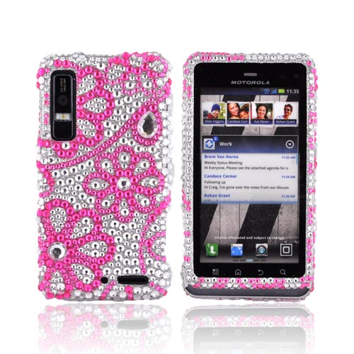 Motorola Droid 3 Bling Hard Case - Pink Lace Flowers on Silver Gems