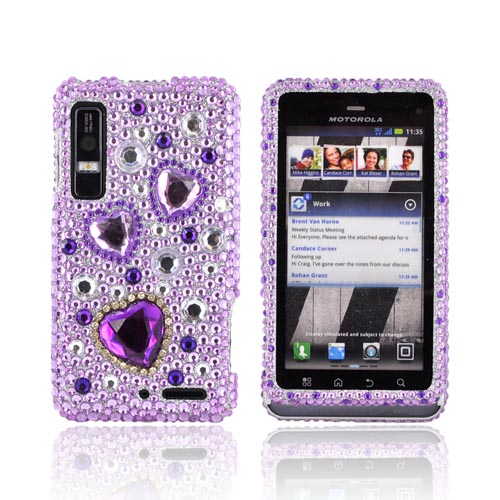 Motorola Droid 3 Bling Hard Case - Purple Hearts on Light Purple/ Silver Gems