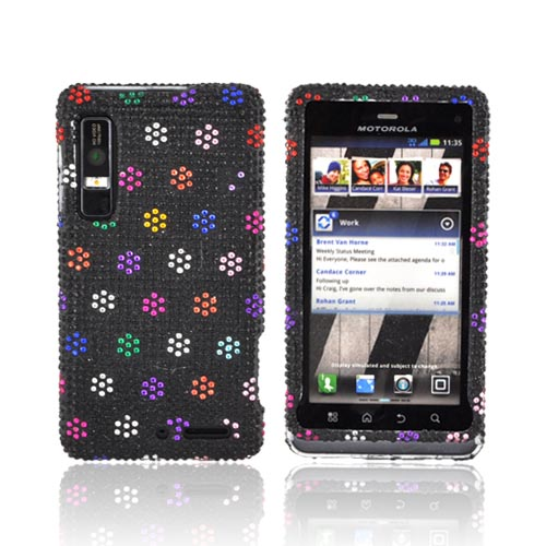 Motorola Droid 3 Bling Hard Case - Rainbow Dots on Black Gems