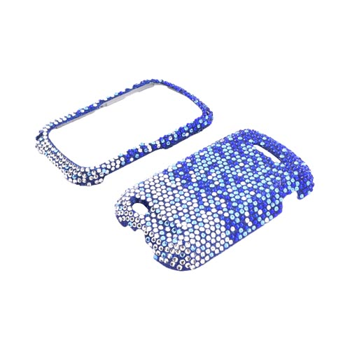 Motorola Clutch+ i475 Bling Hard Case - Blue/ Turquoise Waterfall on Silver Gems