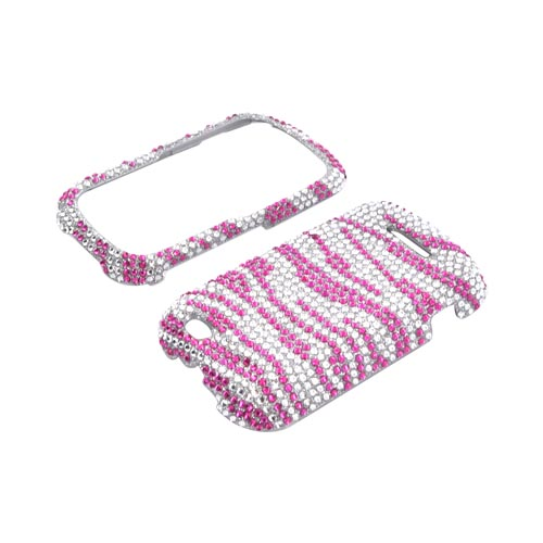 Motorola Clutch+ i475 Bling Hard Case - Pink Zebra on Silver Gems