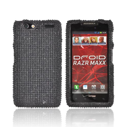 Motorola Droid RAZR MAXX Bling Hard Case - Black Gems