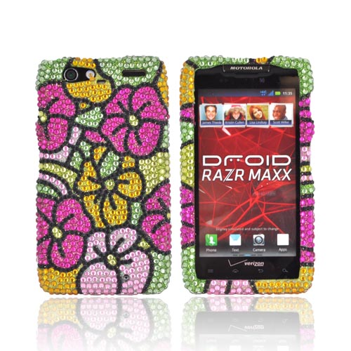 Motorola Droid RAZR MAXX Bling Hard Case - Green/ Hot Pink/ Yellow Hawaiian Flowers