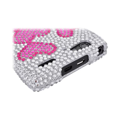 Motorola Droid RAZR MAXX Bling Hard Case - Pink Hearts on Silver Gems