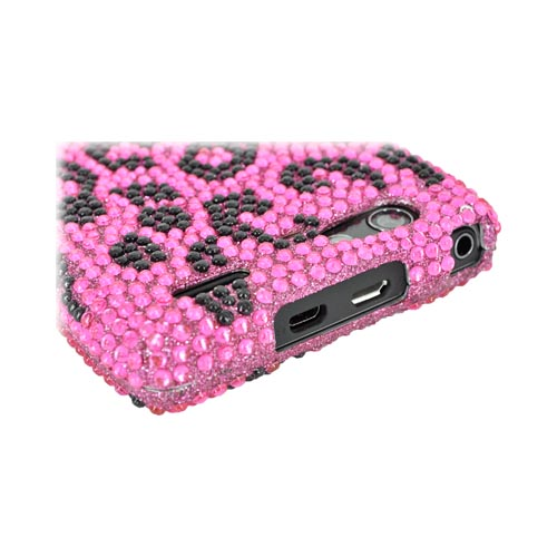 Motorola Droid RAZR MAXX Bling Hard Case - Hot Pink/ Black Leopard