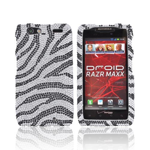 Motorola Droid RAZR MAXX Bling Hard Case - Black Zebra on Silver Gems