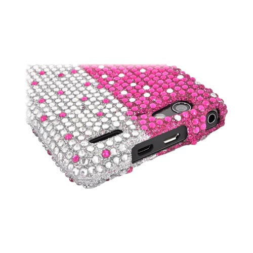 Motorola Droid RAZR MAXX Bling Hard Case - Hot Pink/ Silver Gems
