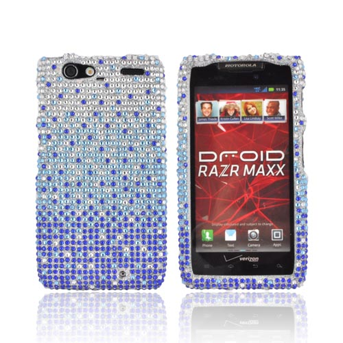 Motorola Droid RAZR MAXX Bling Hard Case - Turquoise/ Blue Waterfall on Silver Gems