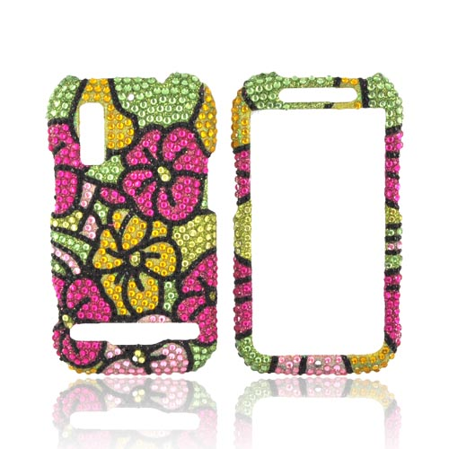 Motorola Photon 4G Bling Hard Case - Green/ Magenta/ Yellow Hawaiian Flowers