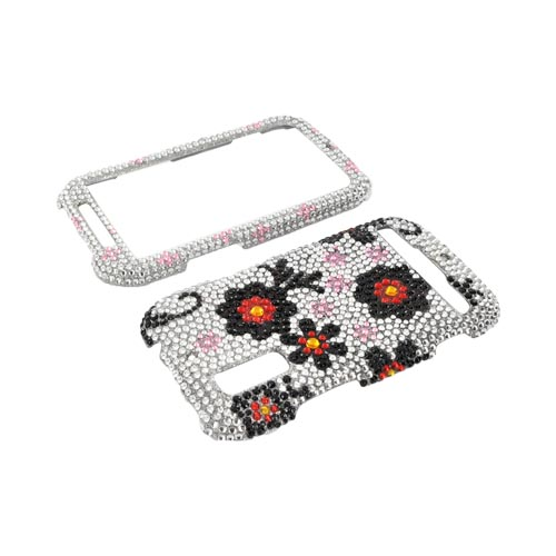 Motorola Photon 4G Bling Hard Case - Red/ Black Daisies on Silver Gems