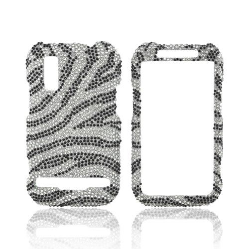 Motorola Photon 4G Bling Hard Case - Black Zebra on Silver Gems