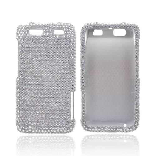 Motorola Atrix HD Bling Hard Case - Silver Gems
