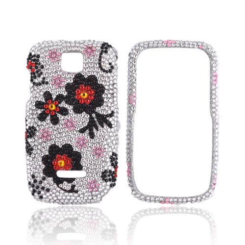 Motorola Theory Bling Hard Case - Red/ Black Daisies on Silver Gems