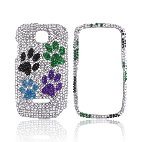 Motorola Theory Bling Hard Case - Multi-Color Paw Prints on Silver Gems