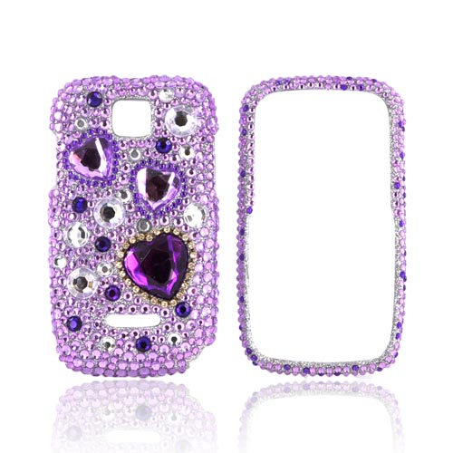 Motorola Theory Bling Hard Case - Purple Hearts on Light Purple/ Silver Gems