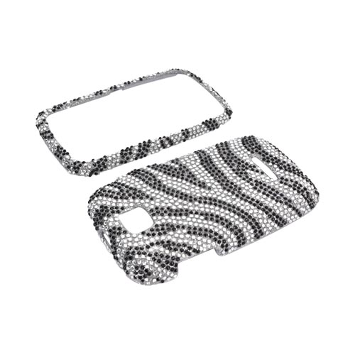 Motorola Theory Bling Hard Case - Black Zebra on Silver Gems