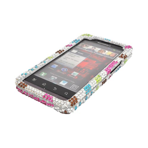Motorola Droid Bionic XT875 Bling Hard Case - Rainbow Zebra on Silver Gems