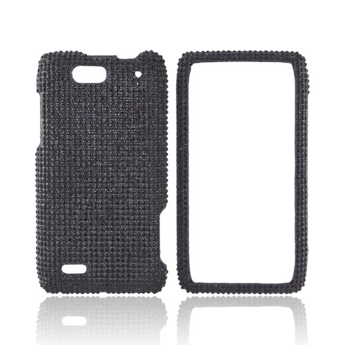Motorola Droid 4 Bling Hard Case - Black Gems