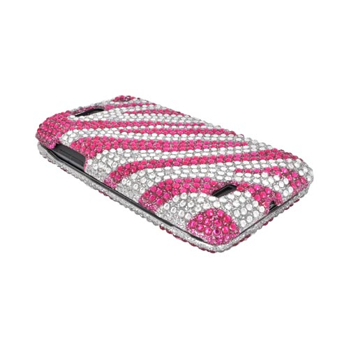 Motorola Droid 4 Bling Hard Case - Hot Pink Zebra on Silver Gems