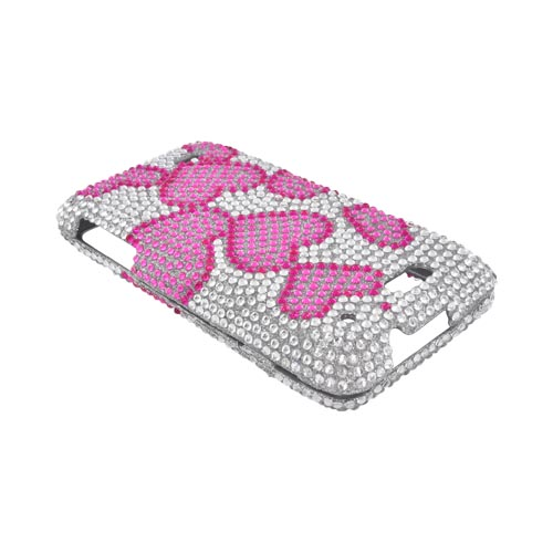 Motorola Droid 4 Bling Hard Case - Pink Hearts on Silver Gems