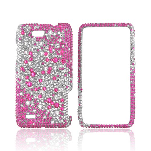 Motorola Droid 4 Bling Hard Case - Pink Splash on Silver Gems