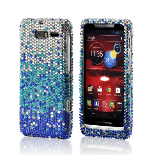 Blue/ Turquoise Waterfall on Silver Gems Bling Hard Case for Motorola Droid RAZR M